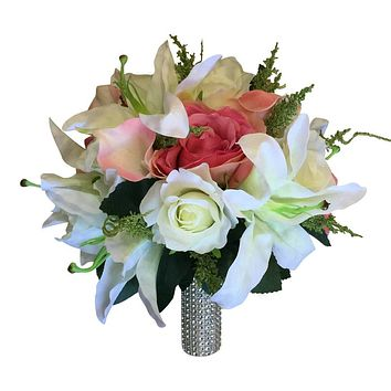 Artificial Bridal Bouquet - Soft Pink, Coral, and Ivory Bouquet with Lilies, Roses, and Calla Lilies