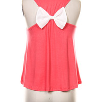 Racer back Tank Top With Bow Back Low High Tank Top with Bow in different colors