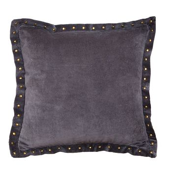 The Dark Grey Studded Velvet Throw Pillow
