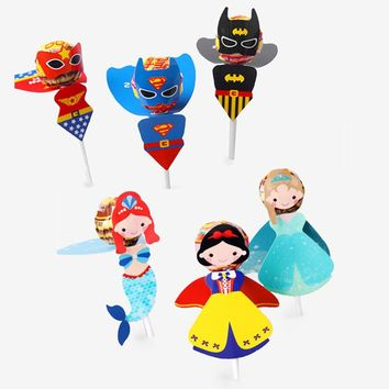 120 Pcs Princess Mermaid Lollipop Card Candy For Kids Birthday Party Funny Creative Super Hero Gift Favor Lollipop Candy Decor