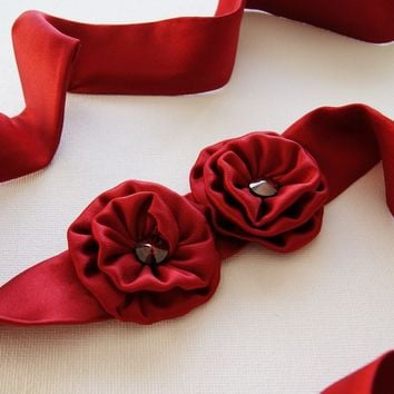 Scarlet Red Silk Headband / Belt / Choker