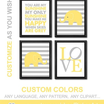 yellow grey kid art nursery decor baby nursery prints safari modern nursery wall art with elephant baby room decor gift for new parents