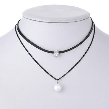 New Black Leather Rope Chain Choker Necklace Silver Plated Shining Crystal Imitation Pearl Double Necklace For Women Jewelry