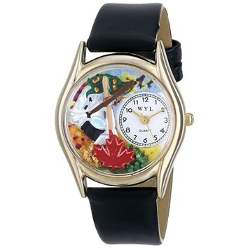 SheilaShrubs.com: Women's Autumn Leaves Black Leather Watch C-1213001 by Whimsical Watches: Watches