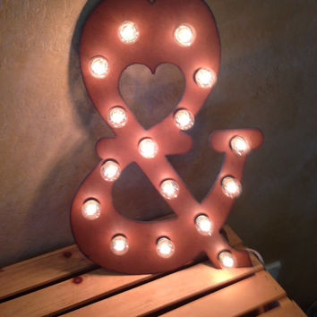 AND AMPERSAND Lighted Wedding Marquee Sign made of Rusted Recycled Metal Vintage Inspired