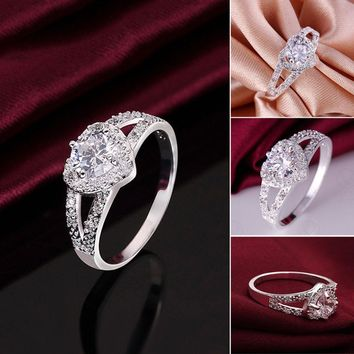 Fashion heart-shaped ring zircon ring Heart Shaped