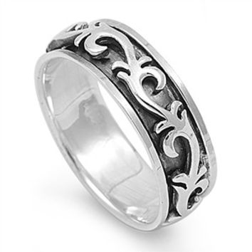 925 Sterling Silver Wicca Celtic Veins Spinner Ring 7MM