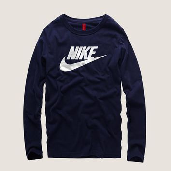 Nike Men Simple Casual Letter Print Round Neck Long Sleeve Cotton T-shirt