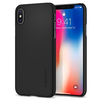 For Apple iPhone X 10 Spigen® [Thin Fit] Ultra Slim Lightweight PC Case Cover