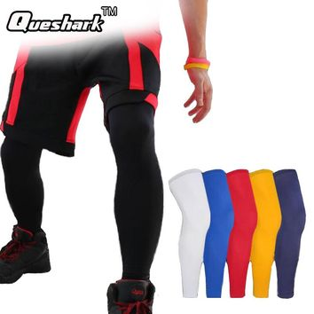 1Pcs Long Running Basketball Leg Sleeve Knee Pads Men Fitness Crossfit Sports Knee Support Protector Anti-UV Cycling Leg Warmers