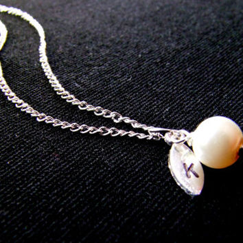 Single pearl necklace, Silver charm necklace, Wedding jewelry, Stamped initial, Bridesmaids gift, personalized