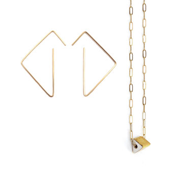 tri earrings, prism necklace set