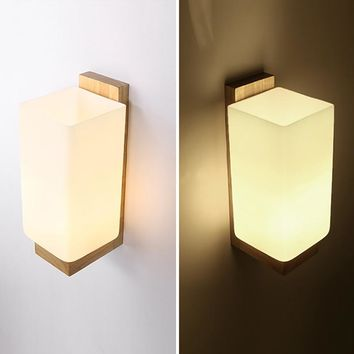 Modern white glass lampshade natural Wood Wall Lamp wall sconce for bathroom bedroom corridor deco lights fixture E27