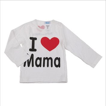 Children's T-shirt I love mama and papa 100% cotton T-shirt cartoon printed long sleeve thin T-shirt TST0017