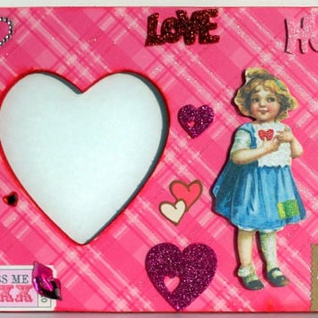 Valentine Picture Frame - Valentine Gift - Love Gift - Girly Decor - Glitter Hearts