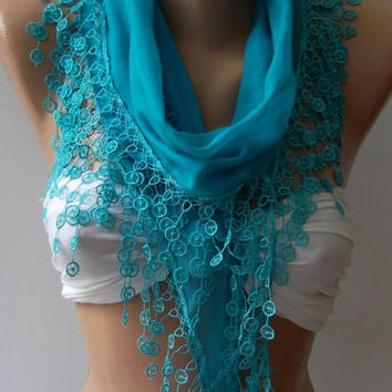 Cotton Shawl / Elegance Shawl / Scarf with Lace Edge/ Blue