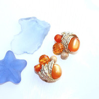 Orange Cluster Earrings ~ Vintage Lucite Moonglow Disco Ball Faceted & Wood Bead Clip on Clusters