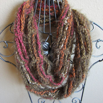 Crochet Cowl/Hooded Scarf/Necklace Scarf made with Chains in Angel Hair Yarn Green and Pink Stripes