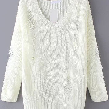 White V-Neckline Ripped Sweater