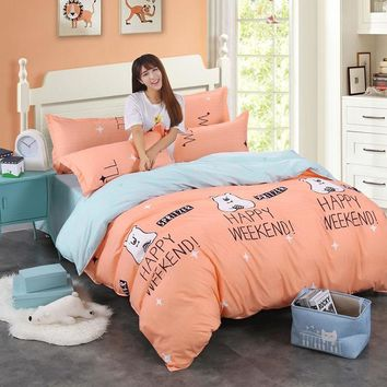4pcs Cotton Bedding Set Queen Size Bedclothes with Duvet Cover Bed Sheet Set King Bed Cover Girls Bedding Sheets Kids Bed Linen