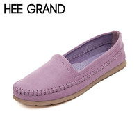 HEE GRAND Women's Flats 2016 Soft Flock Loafers Slip-on Breathable Flats Spring Pregnant Women's Casual Flat Heel Shoes XWD3357