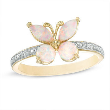Lab-Created Pink Opal and White Sapphire Butterfly Ring in Sterling Silver with 18K Rose Gold Plate - Size 7 - View All Rings - Zales