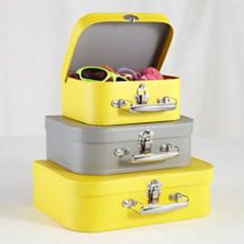 Kids Storage: Yellow and Grey Storage Suitcases in Tabletop Storage | The Land of Nod