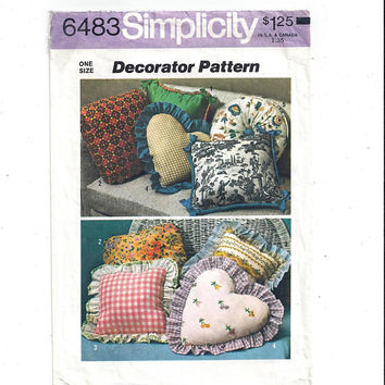 Simplicity 6483 Pattern for Decorator Pillow Pattern, 5 Styles, From 1974, Heart, Tufted, Vintage Pattern, Home Sew, 1974 Decorating Pattern