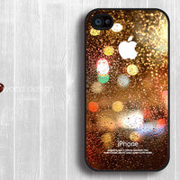 On sale covers for the iphone black iphone 4 case iphone 4s case iphone 4 cover colorized Rain and glass design printing