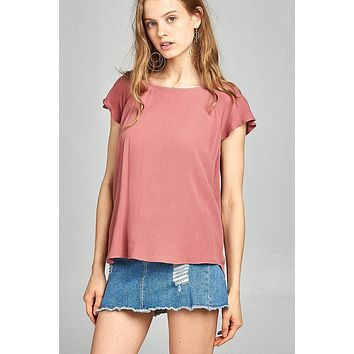 Ladies fashion short sleeve ruffled round neck strappy back