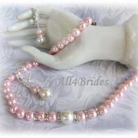 Bridal pearl jewelry set, bridal necklace and earrings Pink and  White pearls necklace and earrings - bridal accessories