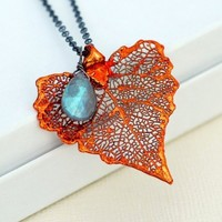 Genuine Cottonwood Copper Leaf and Flashy Labradorite on Oxidized Ste | FizaDesigns - Jewelry on ArtFire