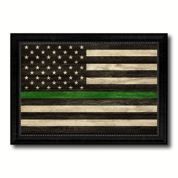 Thin Green Line Support Border Patrol American USA Flag Texture Canvas Print with Black Picture Frame Gift Ideas Home Decor Wall Art