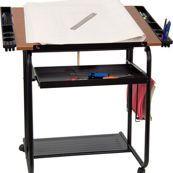 Adjustable Drawing and Drafting Table with Black Frame and Dual Wheel Casters