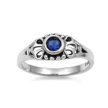 Sterling Silver Filigree Round CZ Sapphire 5MM CZ Petite Rings