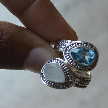 92.5% sterling silver ring,moonstone topaz ring, blue topaz rainbow moonstone Unique Designer ring,handmade ring,Best Friend Gift Boho Rings
