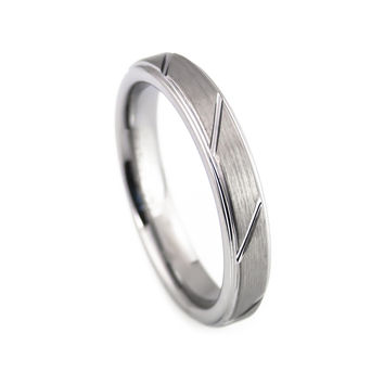 Women's Clean cut tungsten wedding ring 4mm