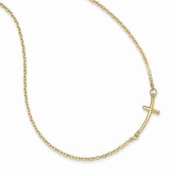 14k Small Sideways Curved Cross Necklace
