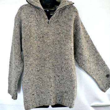 Made in Ireland - 100% Wool Irish Fisherman Sweater - Thick Chunky Knit - Heather Beige / Tan - Half-Zip Collar - Men's Size Medium (M)
