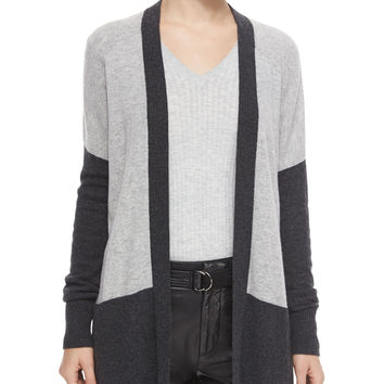 Colorblock Mixed-Knit Cardigan, Size:
