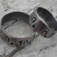 "Sterling Silver Set of Two Artisan Rings - ""Special Date Rings"""