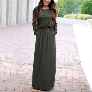 Woman Fashion Pocket Vestidos High Waist Long Sleeve  Lady Long Maxi Dress Longue Femme Vestidos