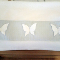 baby blanket with 3d butterflies- white baby quality fleece blanket with white 3d butterflies on baby blue stripe fabric-baby shower gift