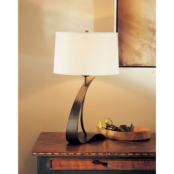 Hubbardton Forge 272680-05-420 Poised Arc Bronze One Light Table Lamp with Natural Anna Shade