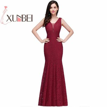Robe de fille d'honneur Cheap Burgundy Mermaid Lace Bridesmaid Dresses 2017 Sexy Back Long Prom Dress Party Gowns Under $50