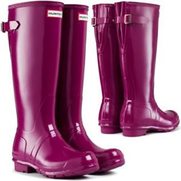 HUNTER ORIGINAL TALL VIOLET GLOSS ADJUSTABLE WELLINGTON BOOTS WIDE CALVES PURPLE