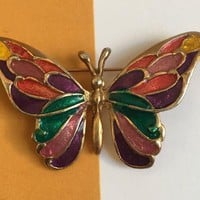 Vintage Enamel Butterfly Brooch - Butterfly Pin - Gold Tone - Vintage Jewelry - Multi-Colored Butterfly - Colorful Butterfly - Butterfly
