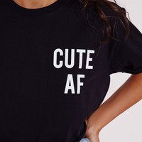 CUTE AF CROPPED T SHIRT BLACK