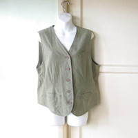 Women's Medium-Lg Olive Green Cotton-Linen Blend Vest; Light Green Khaki Vest w/ Pockets & Wood Buttons; U.S. Shipping Included