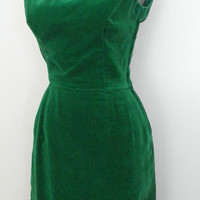 SALE Vintage 40s 50s Dress / Fir Green Velvet Holiday Party Bombshell Mad Men Hourglass Wiggle Coat Suit